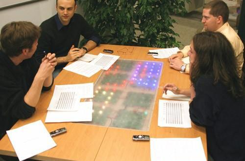 Reflect table monitors conversations with LEDs, shows who's all talky