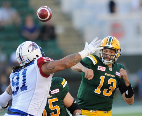 Quarterback Mike Reilly of the Eskimos leads this season's most dominant CFL offence. (REUTERS/Dan Riedlhuber photo)