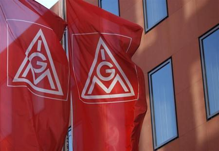 Flags of Germany's metalworkers' union IGM are pictured past the IGM headquarters in Frankfurt