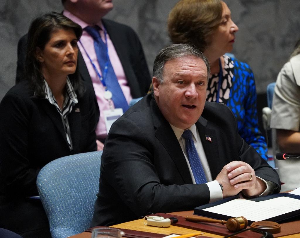 US Secretary of State Mike Pompeo opened the UN Security Council meeting by asking that sanctions against North Korea continue to be strictly enforced (AFP Photo/Don EMMERT)