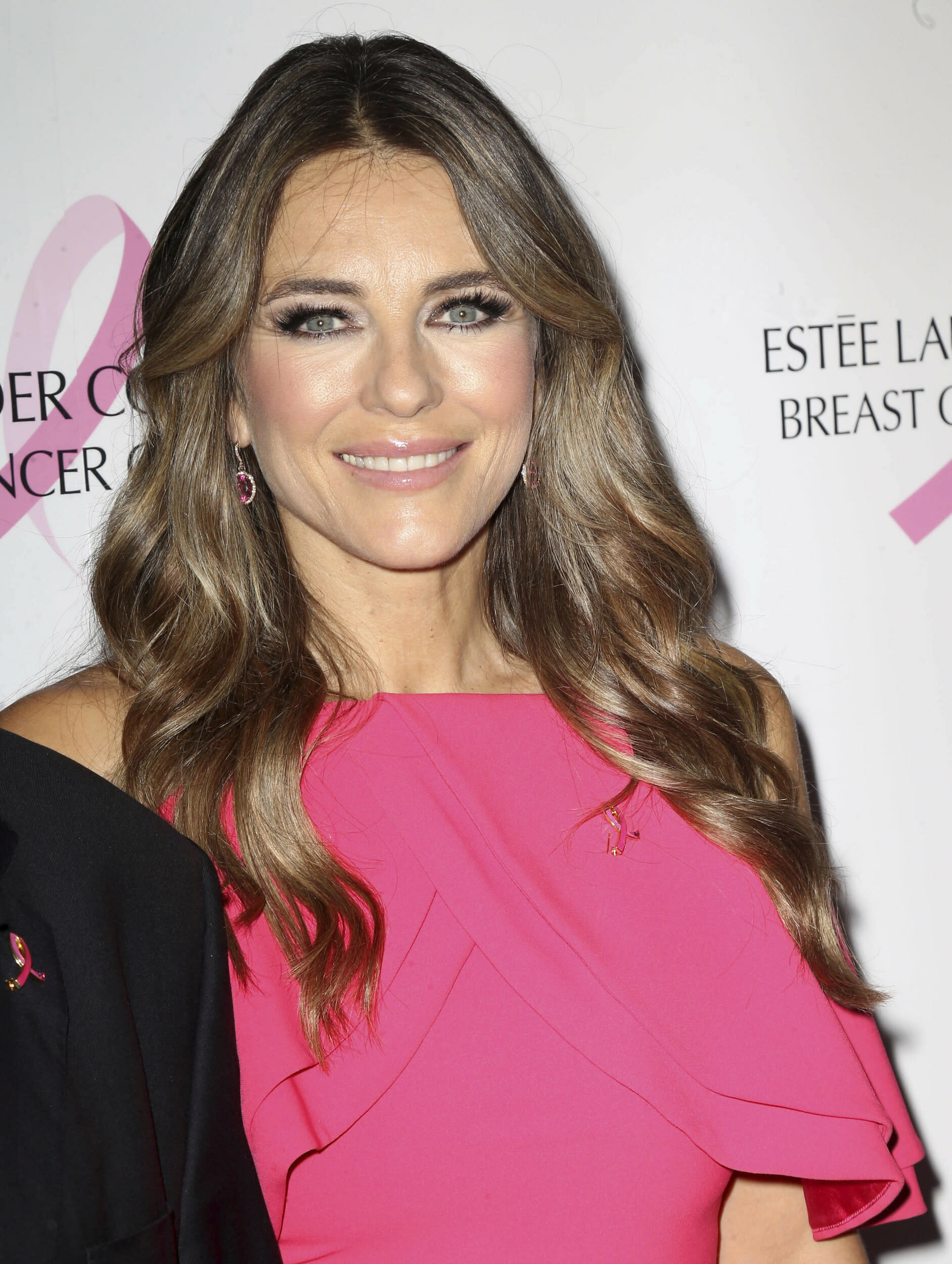 Photo by: KGC-146/STAR MAX/IPx 2018 10/1/18 Elizabeth Hurley at The Estee Lauder Companies Breast Cancer Campaign in New York City.