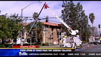 Crews fixing string of power poles that suddenly collapsed