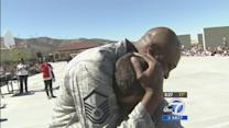 Military dad surprises family at Palmdale school event