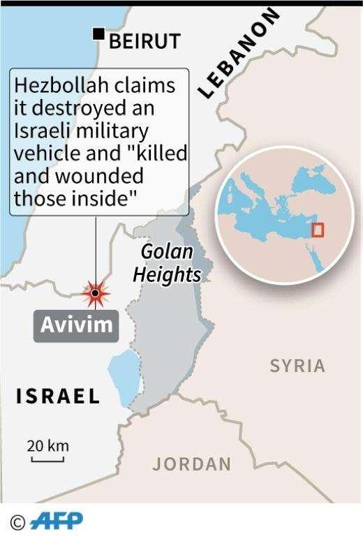 Map locating Avivim in northern Israel, where Hezbollah claimed on Sunday to have destroyed a military vehicle and killed and wounded those inside. (AFP Photo/Joyce HANNA)
