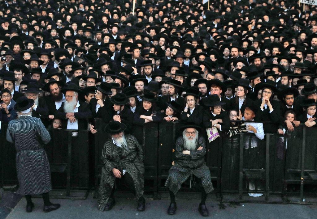 Ultra-Orthodox Jews take part in a protest against Israeli army conscription in Jerusalem on March 28, 2017