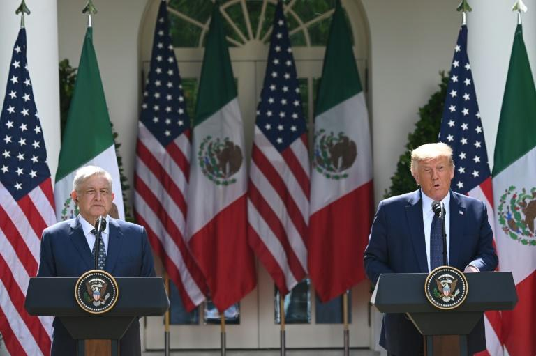 US President Donald Trump and Mexican President Andres Manuel Lopez Obrador in the Rose Garden of the White House (AFP Photo/JIM WATSON)