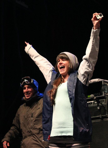 Keri Herman celebrates after being announced to the U.S. Olympic freeskiing team following the U.S. Grand Prix Saturday, Jan. 18, 2014, in Park City, Utah