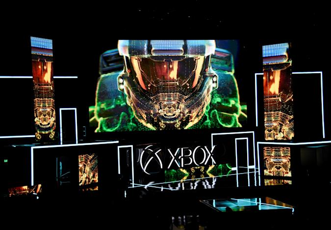 Graphics are shown on a screen during unveiling of the Xbox One X gaming console during the Microsoft Xbox E3 2017 media briefing in Los Angeles, California, U.S., June 11, 2017. REUTERS/Kevork Djansezian