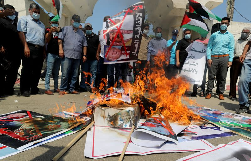 Palestinians protest against Israel-Gulf deal