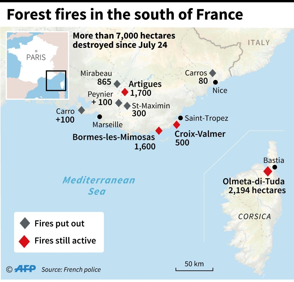 Experts say said a drop-off in farming in southeast France since the 1970s has allowed forests and wild areas of bush to proliferate, making the region more prone to fires (AFP Photo/Thomas SAINT-CRICQ)