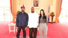 Kanye West and Kim Kardashian present Ugandan president with signed Yeezys trainers on African trip