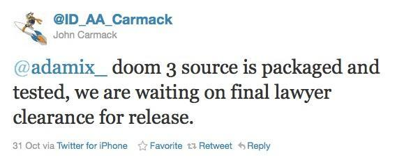 Carmack: Doom 3's engine ready for open-sourcing, awaiting 'OK' from legal