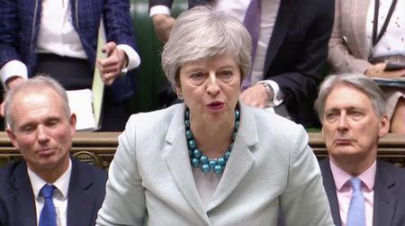 British Prime Minister Theresa May delivers a statement in the Parliament in London
