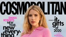Emma Roberts shows off her pregnancy belly on Cosmopolitan cover