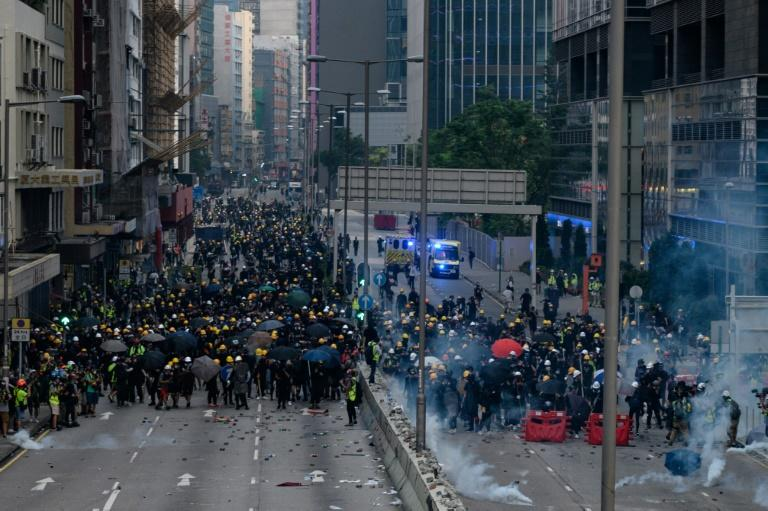 Saturday's face-off underscored the dangerous deadlock into which Hong Kong has sunk -- with the government unmoving in the face of protester demands, and demonstrators stubbornly refusing to leave the streets (AFP Photo/Philip FONG)