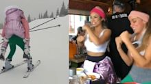 Anitta carrega Lexa nas costas ao esquiar montanha