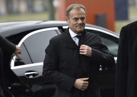 European Council President Donald Tusk arrives for the state funeral of former German President Roman Herzog in Berlin