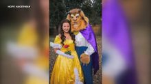 Couple gets engaged in costume as Belle and the Beast