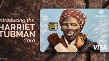 Is that Harriet Tubman on a bank debit card, throwing a Wakanda salute?