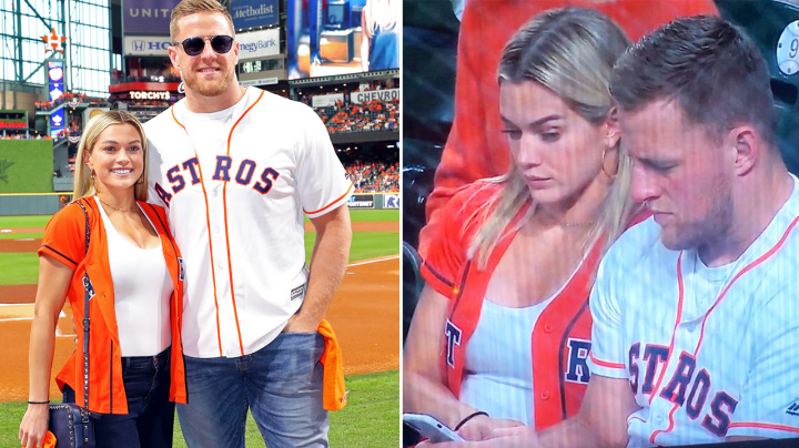 'That side eye': JJ Watt caught in funny moment with fiancee on live TV