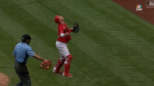 Umpire Angel Hernandez caught something unexpected in foul territory