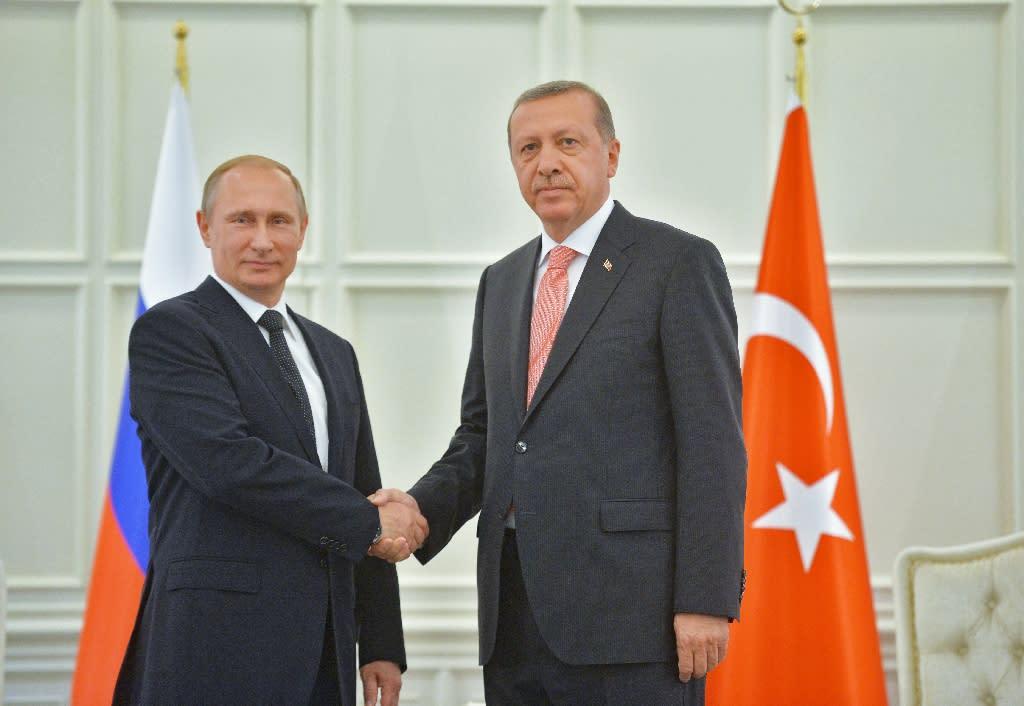 Russian President Vladimir Putin (L) shakes hands with Turkey's President Recep Tayyip Erdogan during a meeting in Baku on June 13, 2015