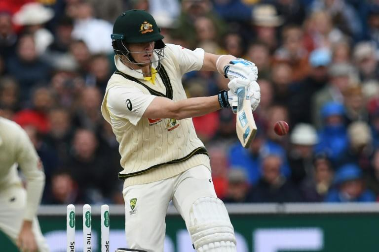 Australia's Steve Smith bats on the first day of the fourth Test against England