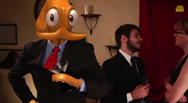 Not even spies suspect a thing when Octodad goes to a party