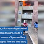 WEB EXTRA: Man Catches Toddler Thrown From Burning Building