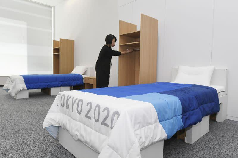 Olympics - Irish gymnast leaps on cardboard beds at Athletes Village to bust 'anti-sex' myth