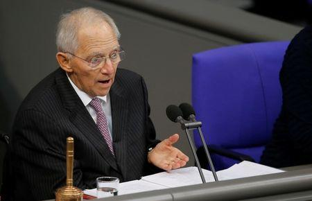 FILE PHOTO: Wolfgang Schaeuble of CDU, president of the Bundestag, German lower house of Parliament, is seen during a session of the Bundestag in Berlin, Germany, November 21, 2017. REUTERS/Axel Schmidt