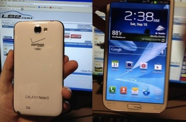 Verizon's Galaxy Note II purportedly poses for the camera, over-branding included