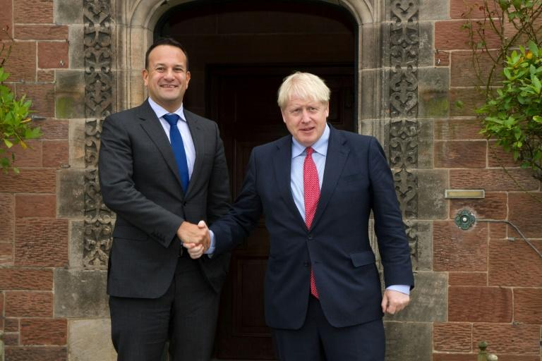 "Ireland's Leo Varadkar, pictured with British PM Boris Johnson, has said he would work ""until the last moment"" to get a deal but not at any cost (AFP Photo/Noel Mullen)"