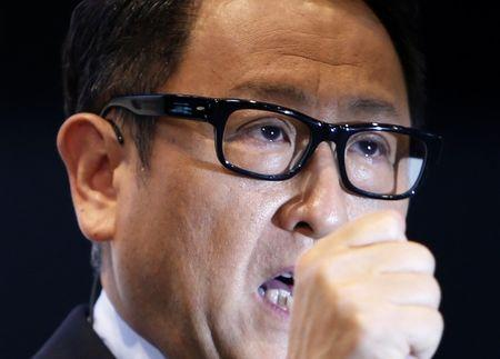 FILE PHOTO - Toyota Motor Corp President Toyoda speaks during a news conference in Tokyo