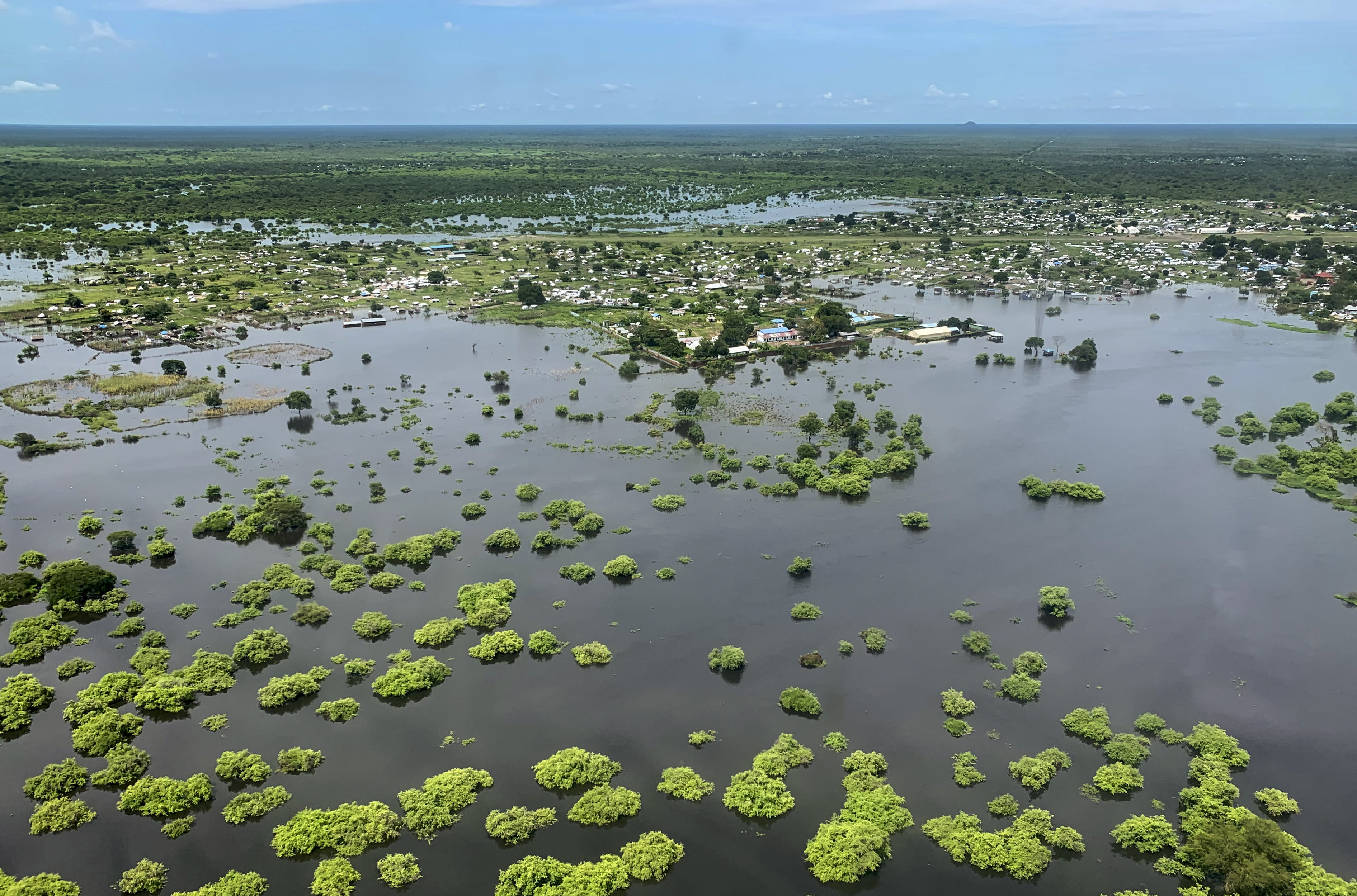 Flooding is seen from the air in the Greater Pibor Administrative Area in South Sudan, Friday, Sept. 4, 2020. Flooding has affected well over a million people across East Africa, another calamity threatening food security on top of a historic locust outbreak and the coronavirus pandemic. (Tetiana Gaviuk/Medecins Sans Frontieres via AP)