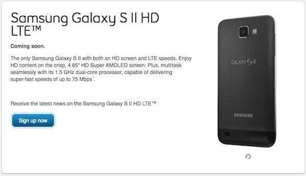 Samsung Galaxy S II HD LTE listed as 'coming soon' on Bell Canada's site