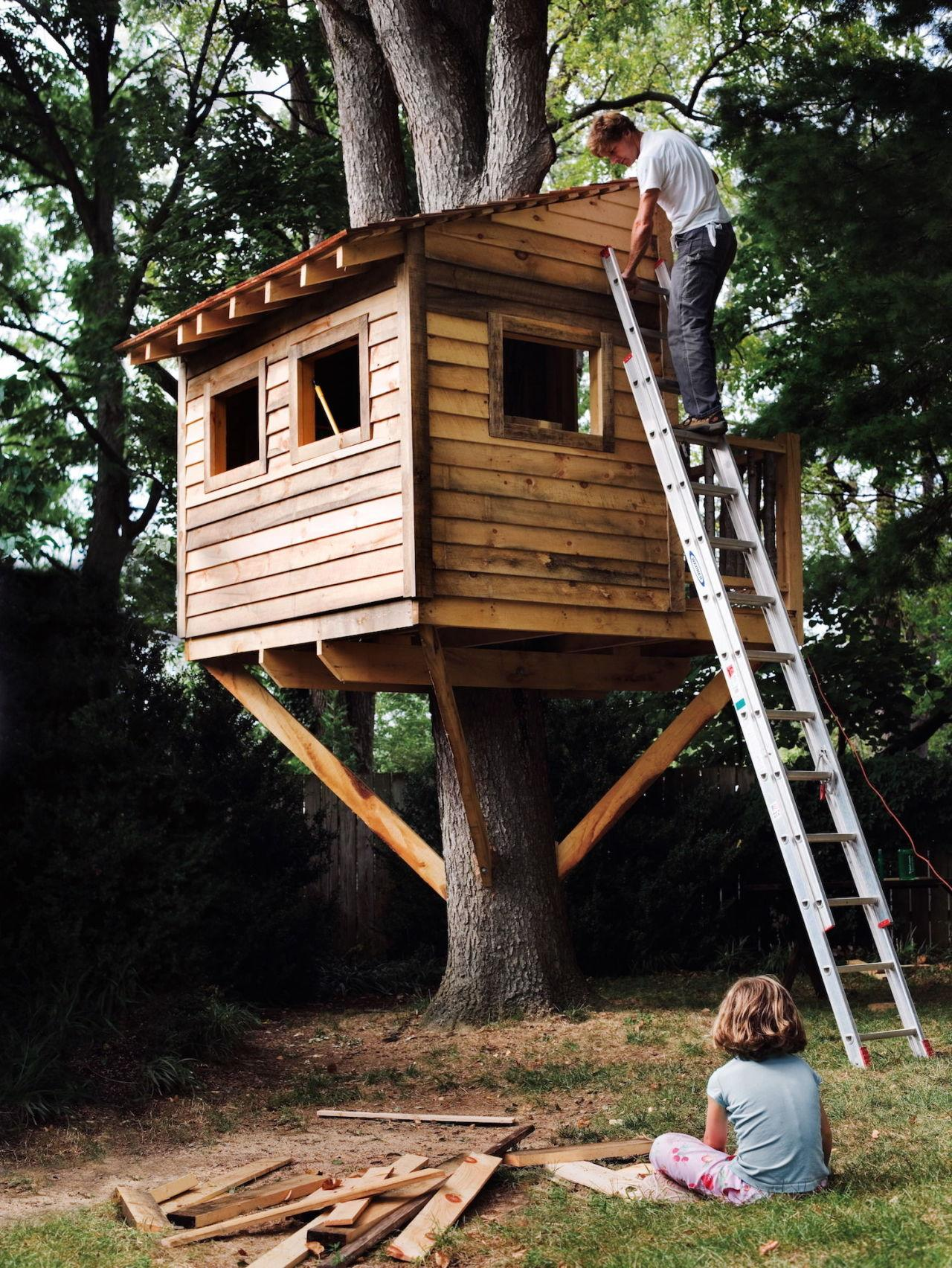"""<p>This ambitious project can take a few weeks, but will create memories that last a lifetime. A kid's treehouse is the ultimate backyard play structure. If you're handy and you've got a solid tree, then go for it!</p><p><a href=""""http://www.popularmechanics.com/home/how-to-plans/how-to/a5490/how-to-build-a-treehouse/"""" rel=""""nofollow noopener"""" target=""""_blank"""" data-ylk=""""slk:How to Build a Treehouse"""" class=""""link rapid-noclick-resp"""">How to Build a Treehouse</a></p>"""