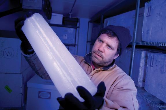 Ed Brook of Oregon State University, who studies ancient ice cores, made drinking cups from the 40,000-year-old ice.