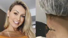 """Andressa Urach comemora remoção de tatuagem em homenagem ao filho: """"Muito feliz"""""""