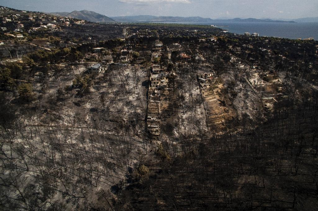 An aerial view of the damage wrought by the wildfire in the village of Mati, near the capital Athens (AFP Photo/SAVVAS KARMANIOLAS)