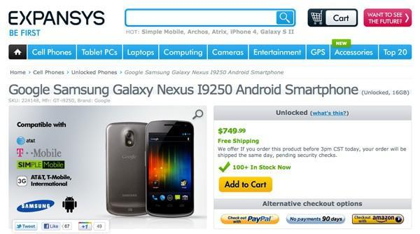 Galaxy Nexus shipping now in America: unlocked for $750 through Expansys