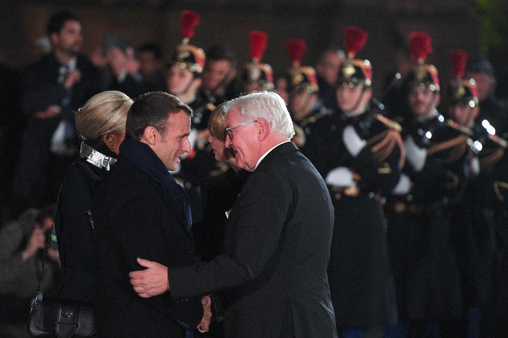 French President Emmanuel Macron and his German counterpart Frank-Walter Steinmeier attended a military ceremony in Strasbourg, eastern France, as part of World War I centenary celebrations (AFP Photo/Patrick HERTZOG)