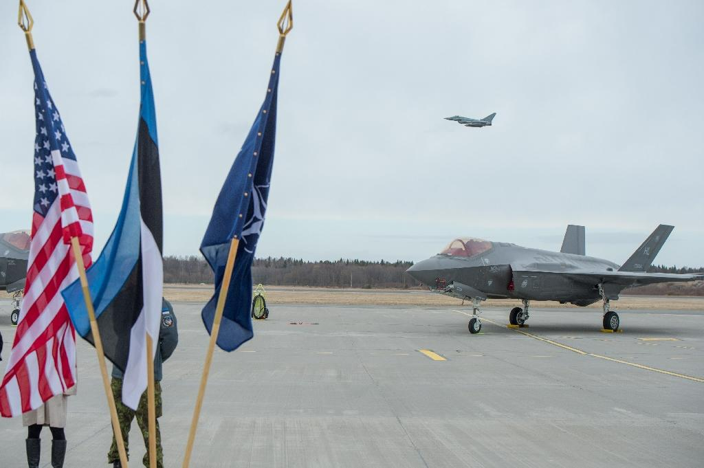 This picture taken on April 25, 2017 shows a US F-35A Lightning II aircraft at Amari Air Base, Estonia
