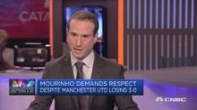 Manchester United's Jose Mourinho demands respect at a pr...