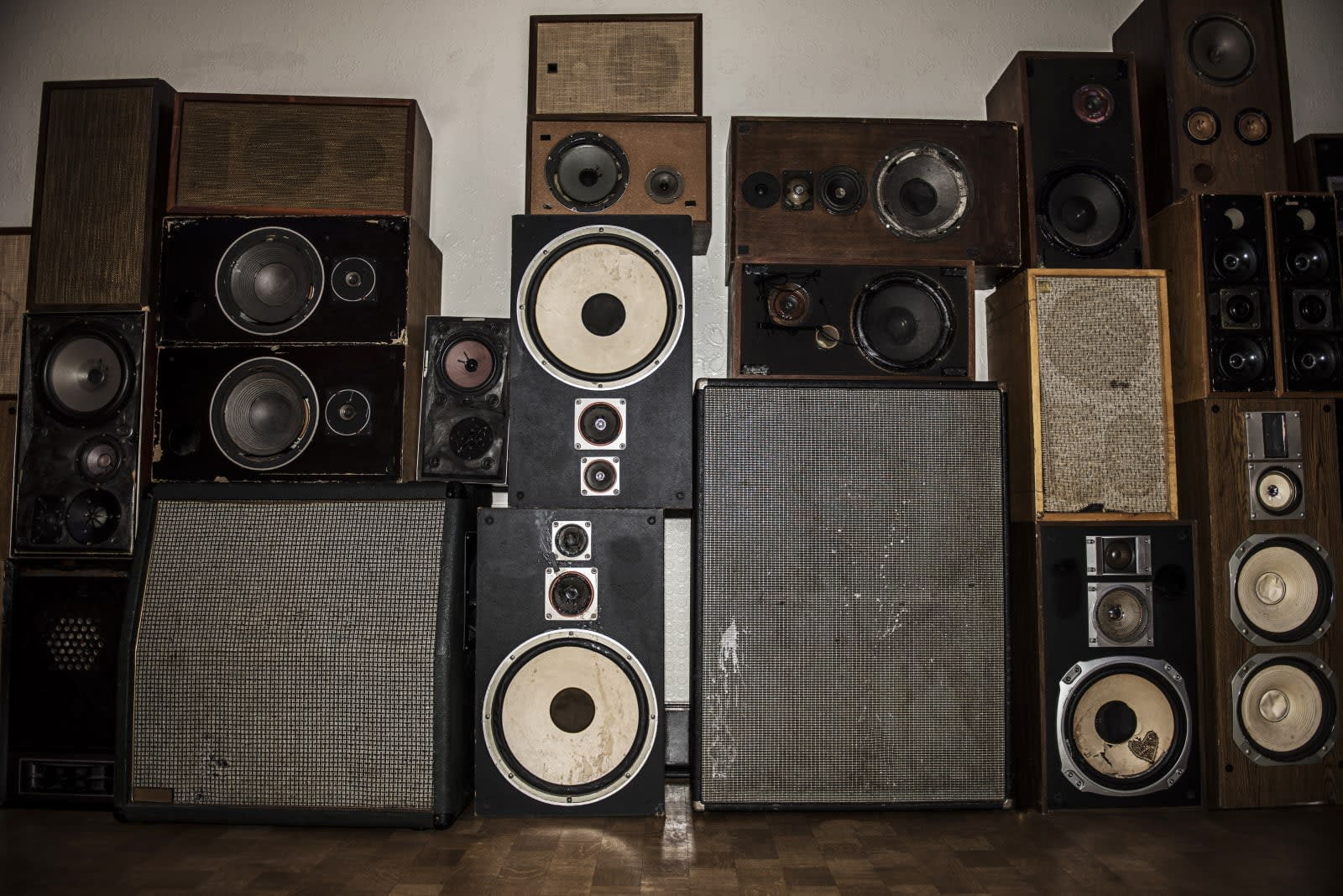 Wall of old speakers.