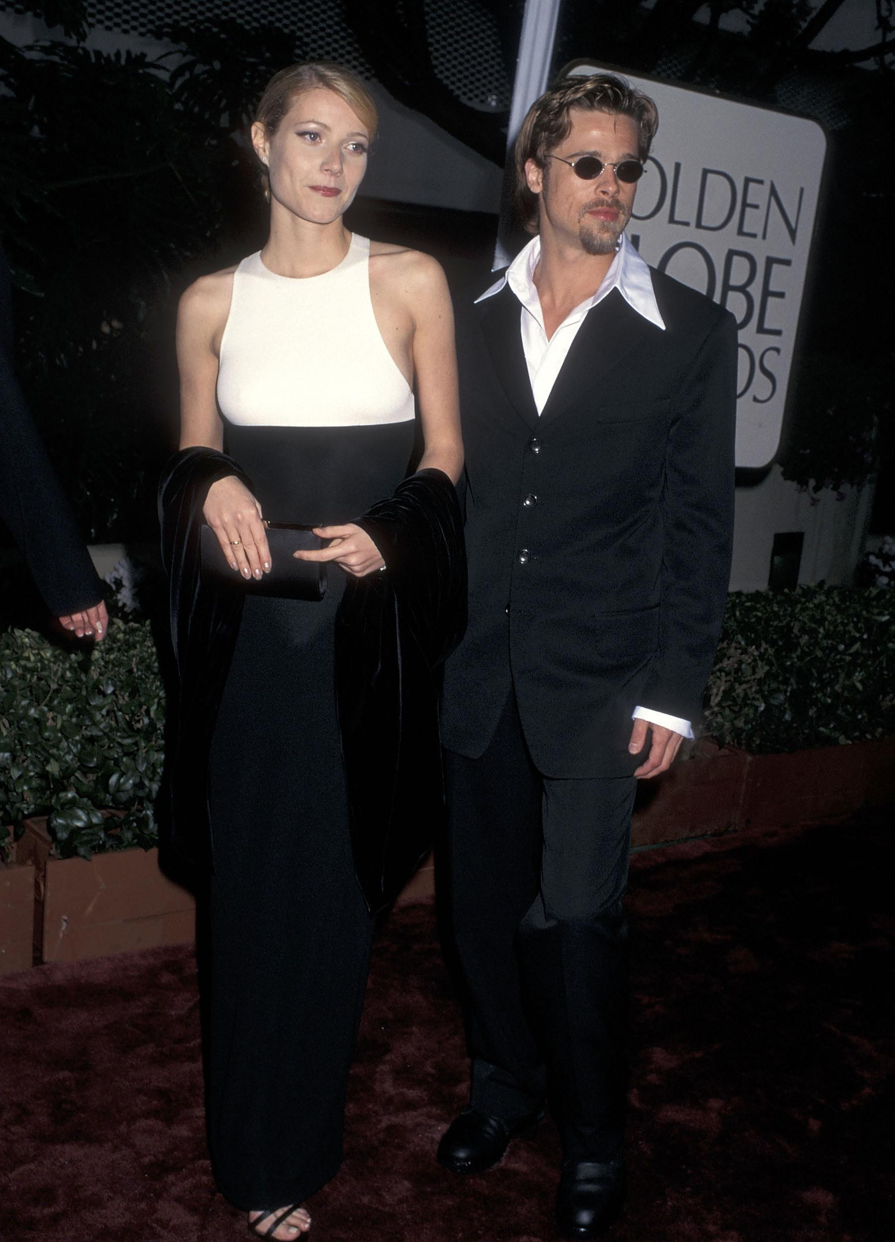 Actress Gwyneth Paltrow and actor Brad Pitt attend the 53rd Annual Golden Globe Awards on January 21, 1996 at Beverly Hilton Hotel in Beverly Hills, California. (Photo by Ron Galella, Ltd./WireImage)