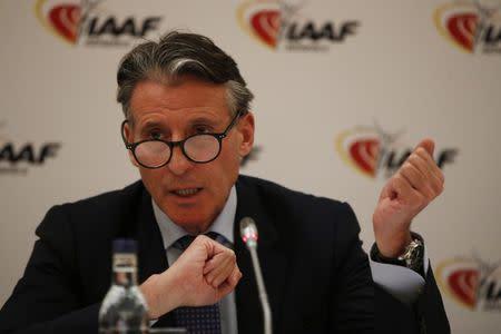 IAAF President Sebastian Coe during the press conference