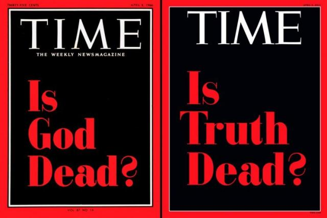 "Time's April 4 cover this echoes its controversial ""Is God Dead?"" one from 1966. (Time)"