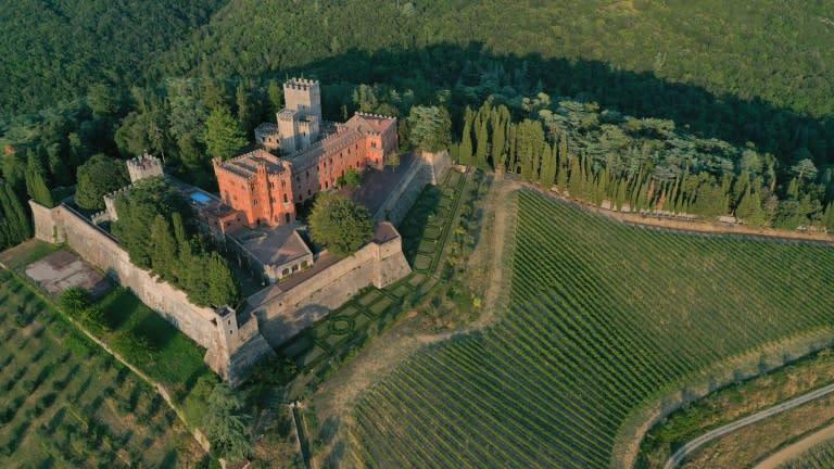 Castello di Brolio castle towers over the Ricasoli company lands and vineyards, the most extensive in the Chianti Classico area