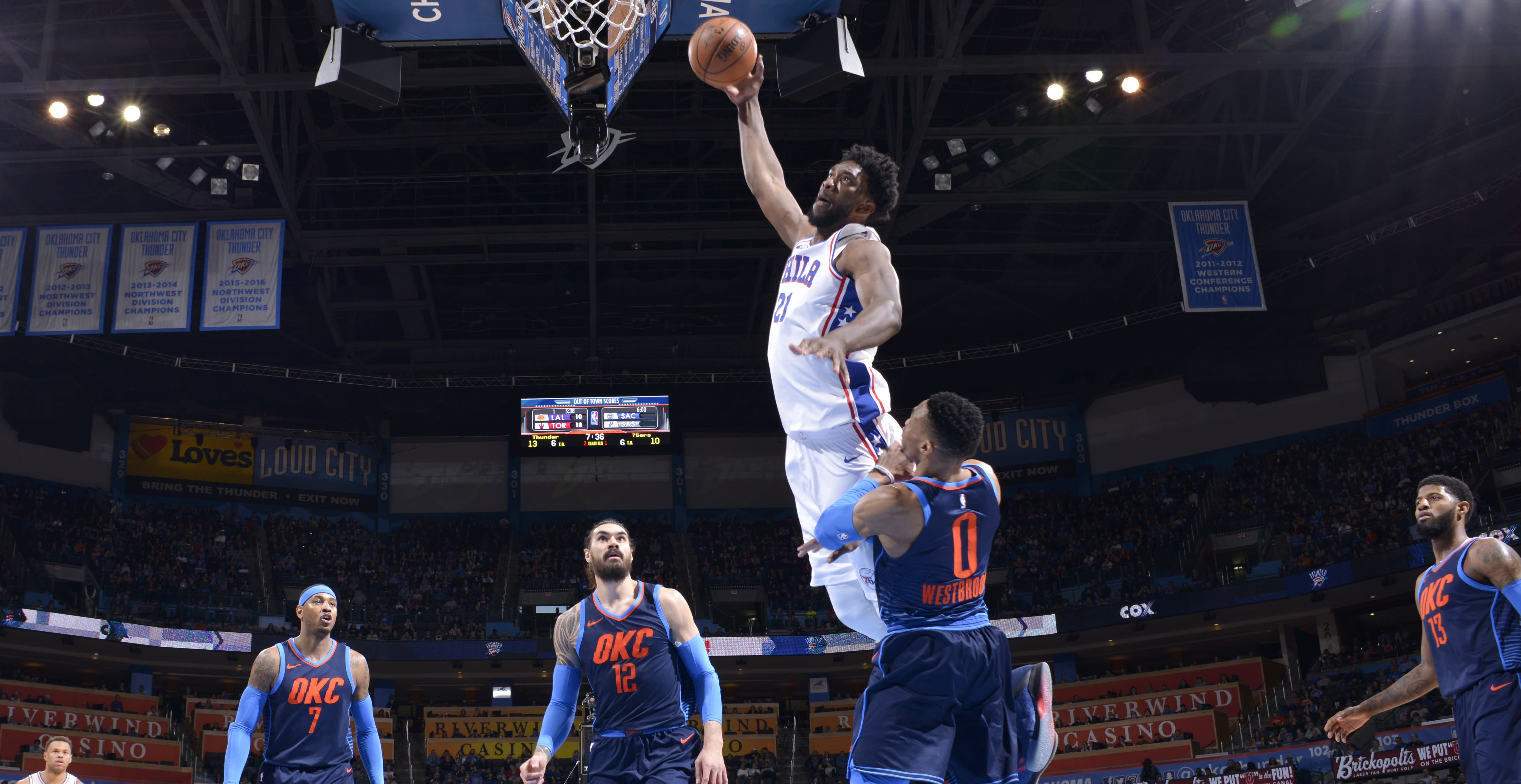 Embiid sends Westbrook sprawling with dunk - Officialsportsbetting.com